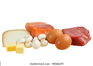 Food sources of vitamin D, including fish, meat, eggs, dairy and mushrooms (with clipping path)