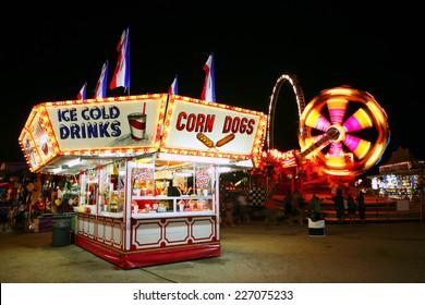 Food stand at a carnival at night