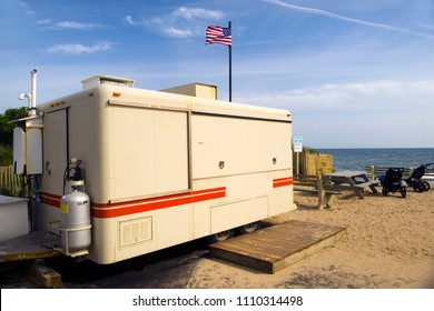 food stand on wheels closed in off season in parking lot of famed surfing beach Ditch Plains in Montauk, New York