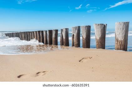 food steps between groynes at the beach in Domburg, Zeeland, Holland