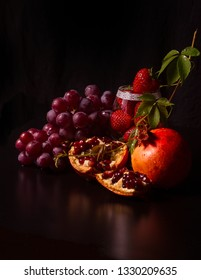 food Still Life with red fruits caravaggio inspired