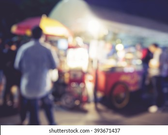 Food store market  Event outdoor Blurred people background