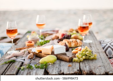 Food Table Healthy Delicious and wine. Meal Concept