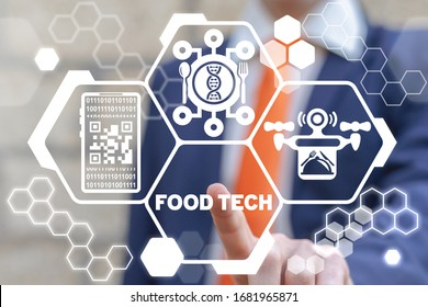 Food Technology Modern Concept. Food Tech. Smart Buy Delivery Meal.