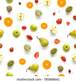 Food texture. Seamless pattern of fresh fruits. Pears, apples, slices of tangerines, kiwi isolated on white background, top view, flat layout.