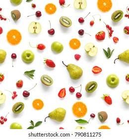 Food texture. Seamless pattern of fresh  various fruits. Pears, apples, slices of tangerines, kiwi, berries isolated on white background, top view, flat layout.