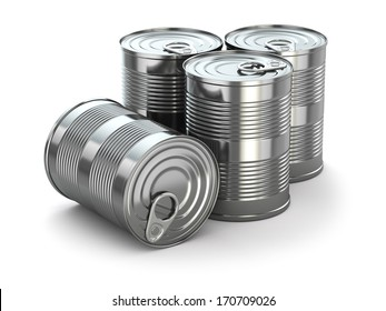 Food tin cans on white isolated background. 3d