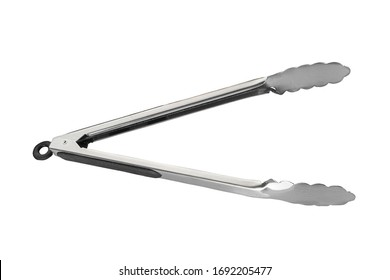 Food tongs for grill, iron tong set, handle tool isolated on white object, steel, metal,