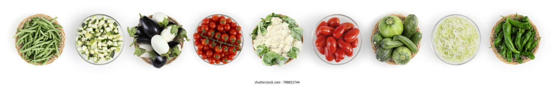 food top view vegetables isolated on white kitchen worktop, web banner copy space template