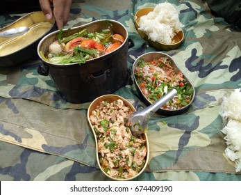 Food in the tray, military