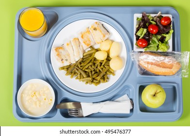 Food tray on the table in a room of a hospital