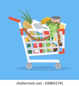 Food trolley cart with groceries on blue background.
