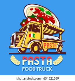 Food truck logotype for Italian pasta fast delivery service or summer food festival. Truck van with Italian pasta advertise ads logo Illustration