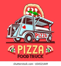 Food truck logotype for Pizza fast delivery service or food festival. Truck van with pizza advertise ads logo Illustration