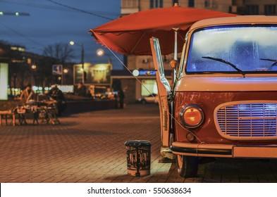 Food Truck on wheels in night street
