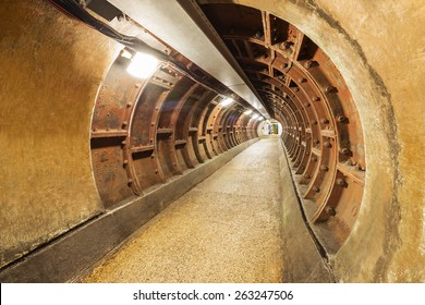 Food tunnel under Thames river, Greenwich, London, UK