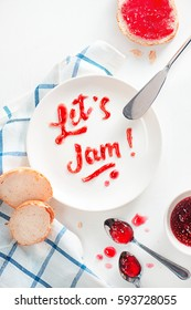 Food typography Let's Jam on a white background