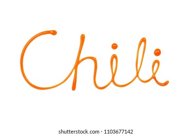 Food typography written by Sriracha hot chili sauce. Hand lettering Isolated on white background