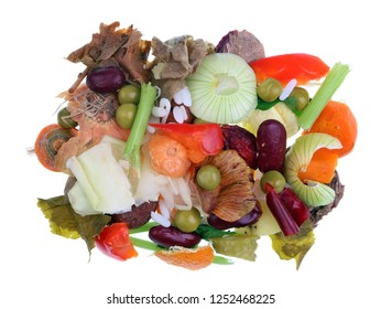 Food vegetables waste which remain after  cooking.  Isolated macro studio shot. The power of humanity in the future concept