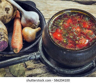 The food in the village. Borscht red beet in pot