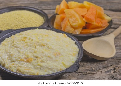 The food in the village. Porridgefrom millet and pumpkin