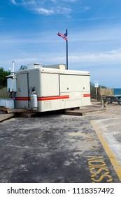 food wagon in parking lot Ditch Plains Beach Montauk New York The Hamptons