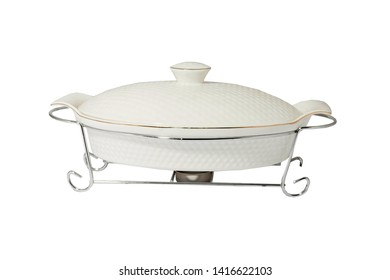 food warmer white porcelain oval for heating food candles, isolate