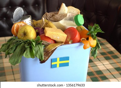 Food waste in Trash Can. The problem of food waste in Sweden. Garbage, Recycle and Compost