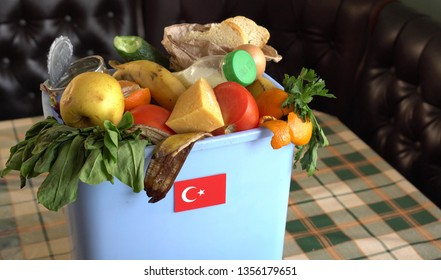 Food waste in Trash Can. The problem of food waste in Turkey. Food loss is food that is discarded or lost uneaten