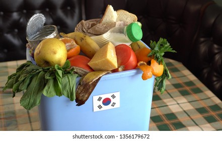 Food waste in Trash Can. The problem of food waste in South Korea. Food loss is food that is discarded or lost uneaten