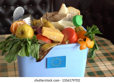 Food waste in Trash Can. The problem of food waste in European Union. Food loss is food that is discarded or lost uneaten