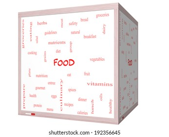 Food Word Cloud Concept on a 3D cube Whiteboard with great terms such as fruit, vegetables, recipes and more.