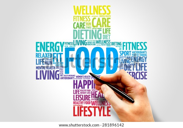 FOOD word cloud, health cross concept