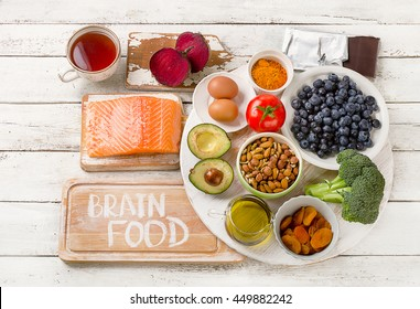 Foods for brain. Healthy eating Concept. Top view