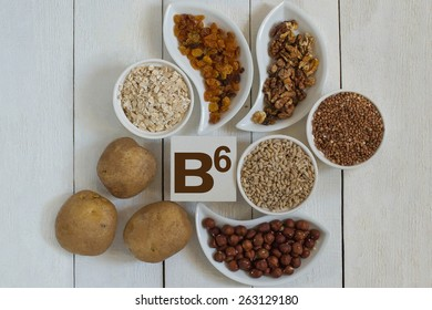 Foods containing vitamin B6: oatmeal, buckwheat, barley, raisins, potatoes, walnuts, hazelnuts