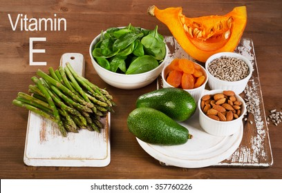 Foods containing vitamin E. Top view