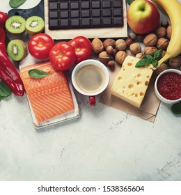 Foods for good mood, brain and happiness. Natural sources of serotonin and dopamine. Food for wellbeing, positive mood, better sleep, appetite and digestion, better memory, sexual desire and function