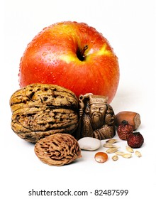 foods of health.longevity.apple, nut, grains on a white background