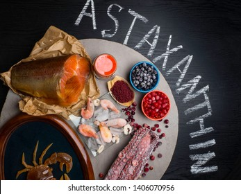 Foods High in Astaxanthin antioxidant, iodine. Healthy diet concept. Top view