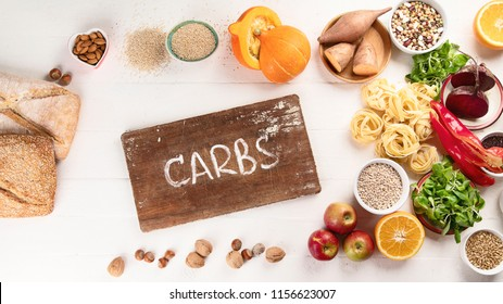 Foods high in carbohydrates. Healthy food. Flat lay