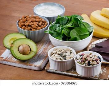 Foods High in Magnesium. Healthy diet eating.