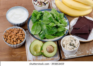 Foods High in Magnesium on a wooden table. Top view
