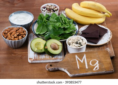 Foods High in Magnesium on  wooden table. Healthy eating.