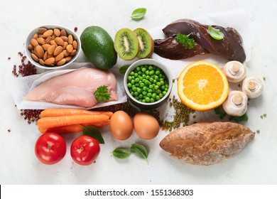 Foods High In Niacin -Vitamin B3 for brain and heart function, skin health,  treat diabetes, ensures the normal functioning of the nervous system.Top view