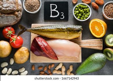 Foods high in Niacin (Vitamin B3) as liver, chicken breast, mackerel, bread, wheat bran, buckwheat, potatoes, tomatoes, bean , almonds, peanuts, green peas, dried apricots, kiwi, orange and avocado