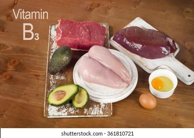 Foods High In Niacin (Vitamin B3). Top view