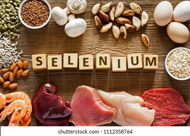 Foods High in Selenium as brasil nuts, tuna, shrimps, beef, liver, mushrooms, pumpkin seeds, sunflower seeds, buckwheat, oatmeal, almonds and eggs. Top view