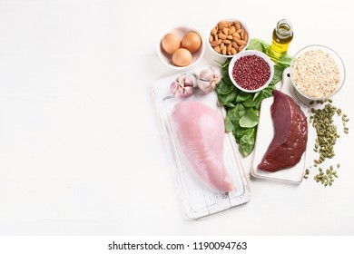Foods High in Selenium. Healthy diet concept. Top view with copy space