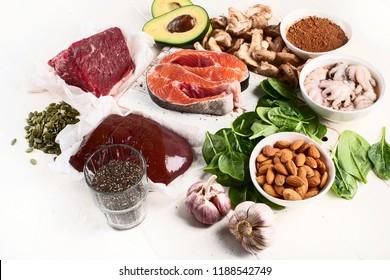 Foods High in Zinc. Healthy diet concept.