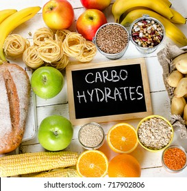 Foods Highest in Carbohydrates. Healthy diet eating concept. View from above